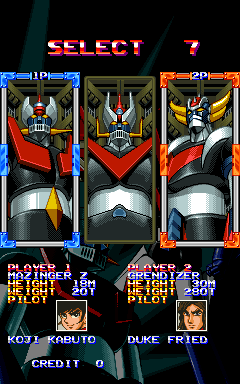 Mazinger Z (World) select screen