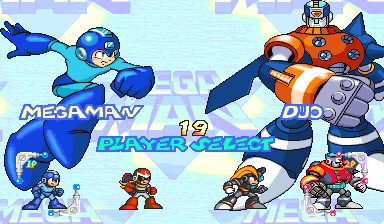 Mega Man 2: The Power Fighters (USA 960708) select screen