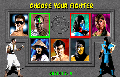 Mortal Kombat (rev 5.0 T-Unit 03/19/93) select screen