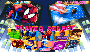 Marvel Super Heroes (Euro 951024) select screen