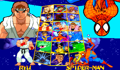 Marvel Super Heroes Vs. Street Fighter (Euro 970625) select screen