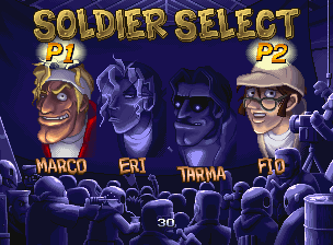 Metal Slug 5 select screen