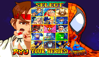 Marvel Vs. Capcom: Clash of Super Heroes (Euro 980123) select screen