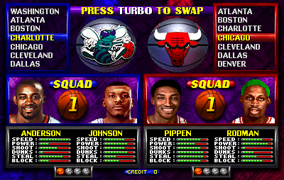NBA Hangtime (rev L1.1 04/16/96) select screen