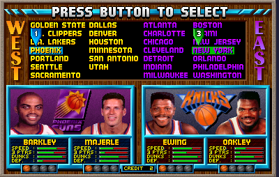 NBA Jam (rev 3.01 04/07/93) select screen