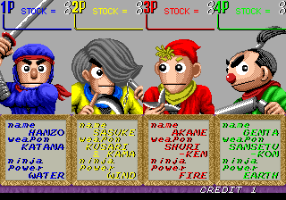 The Ninja Kids (World) select screen