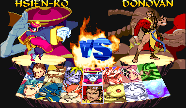 Night Warriors: Darkstalkers' Revenge (Euro 950316) select screen