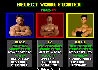 Pit Fighter (rev 9) select screen