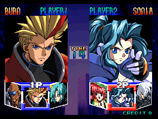 Psychic Force (Ver 2.4O) select screen
