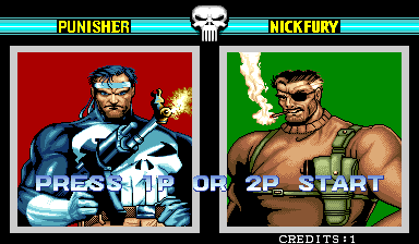 The Punisher (World 930422) select screen