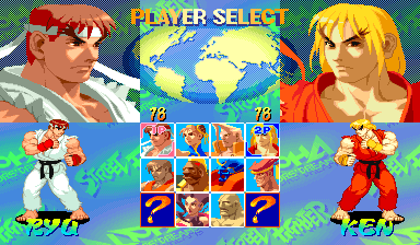 Street Fighter Alpha: Warriors' Dreams (Euro 950727) select screen