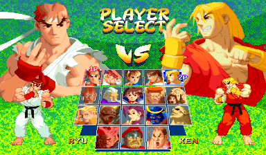 Street Fighter Alpha 2 (Euro 960229) select screen