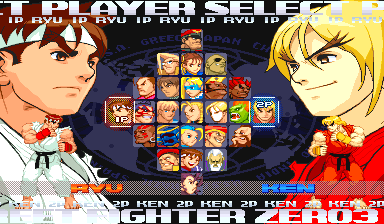 Street Fighter Alpha 3 (Euro 980904) select screen