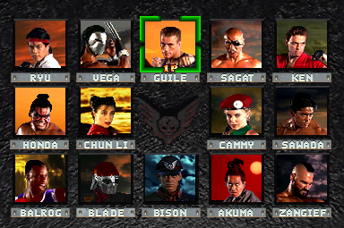Street Fighter: The Movie (v1.12) select screen