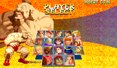 Street Fighter Zero 2 Alpha (Asia 960826) select screen