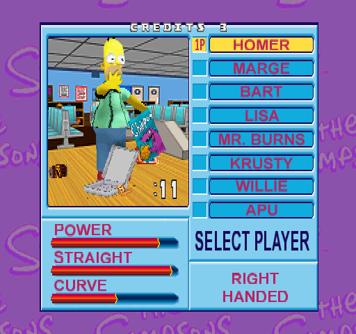 Simpsons Bowling (GQ829 UAA) select screen