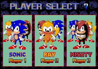 SegaSonic The Hedgehog (Japan, rev. C) select screen