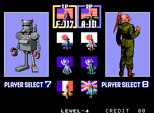 Aero Fighters 2 / Sonic Wings 2 select screen