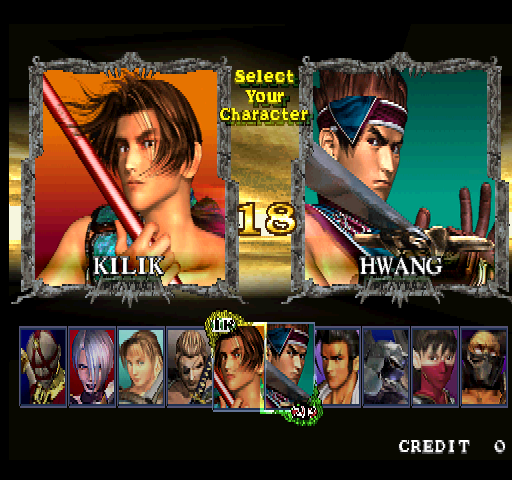 Soul Calibur (World, SOC14/VER.C) select screen