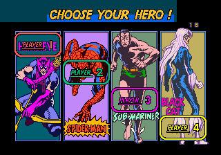 Spider-Man: The Videogame (World) select screen