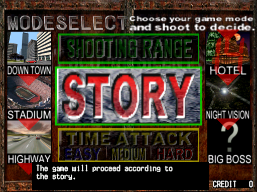 Silent Scope (ver xxD, Ver 1.33) select screen