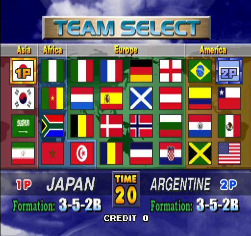 Tecmo World Cup Millennium (Japan) select screen
