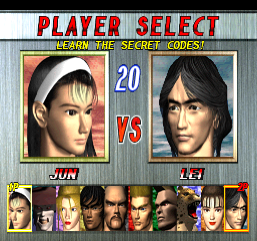 Tekken 2 Ver.B (US, TES3/VER.D) select screen