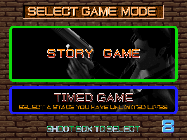 Time Crisis (Rev. TS2 Ver.B) select screen