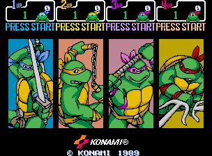 Teenage Mutant Ninja Turtles (World 4 Players, version X) select screen