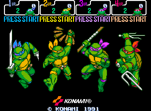 Teenage Mutant Ninja Turtles - Turtles in Time (4 Players ver UAA) select screen