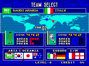 Tecmo World Soccer '96 select screen