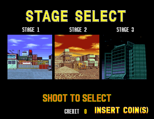 Virtua Cop (Revision B) select screen
