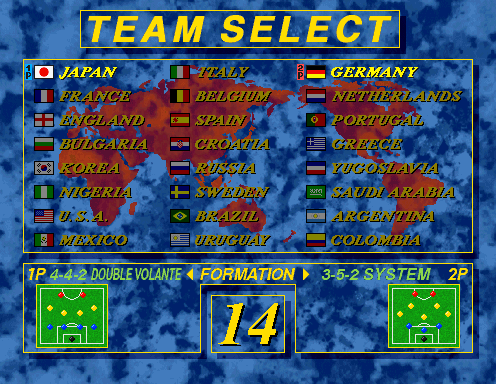 Virtua Striker 2 (Step 2.0) select screen