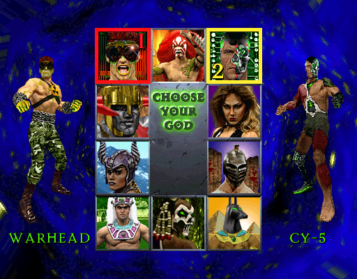 War Gods (HD 10/09/1996 - Dual Resolution) select screen