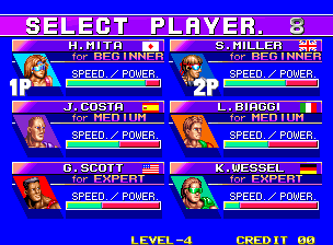 Windjammers / Flying Power Disc select screen