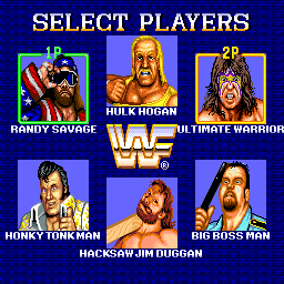 WWF Superstars (Europe) select screen