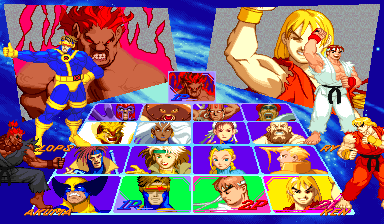 X-Men Vs. Street Fighter (Euro 961004) select screen