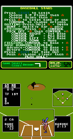 Baseball Stars: Be a Champ! (PlayChoice-10) Screenshot