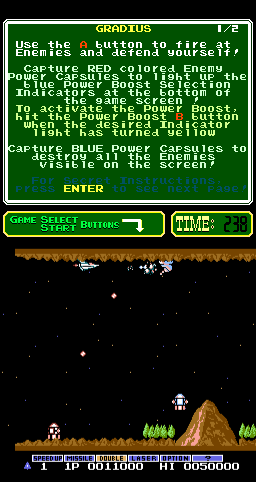 Gradius (PlayChoice-10, older) Screenshot
