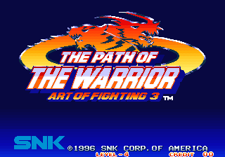 Art of Fighting 3: The Path of the Warrior (Korean Release) Title Screen