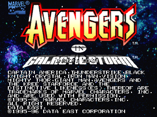 Avengers In Galactic Storm (US) Title Screen