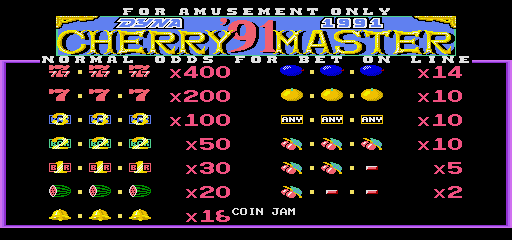 Cherry Master '91 (ver.1.30) Title Screen