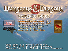 Dungeons & Dragons: Tower of Doom (Euro 940412) Title Screen