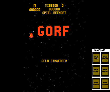 Gorf (program 1, with German Language ROM) Title Screen