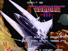 Gradius III (World, program code R) Title Screen