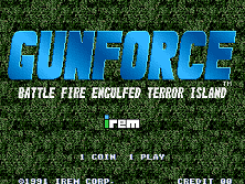 Gunforce - Battle Fire Engulfed Terror Island (World) Title Screen