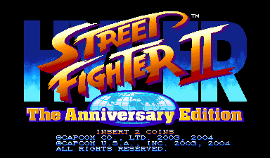 Hyper Street Fighter II: The Anniversary Edition (USA 040202) Title Screen