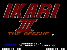 Ikari III - The Rescue (World, 8-Way Joystick) Title Screen