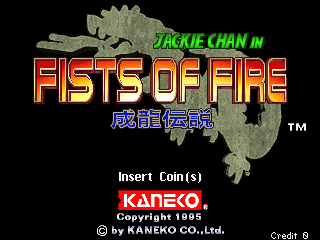 Jackie Chan in Fists of Fire Title Screen