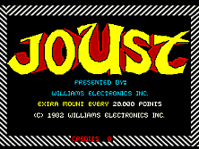 Joust (White/Green label) Title Screen